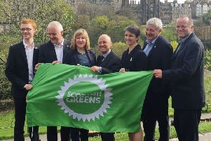 Alison Johnstone (third left) with fellow Green MSPs and party co-convener Maggie Chapman. Picture: Laura Paterson/PA