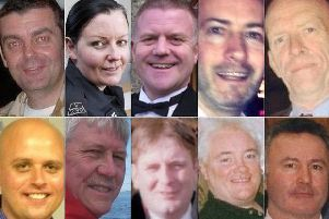 From left, top row, David Traill; PC Kirsty Nelis; PC Tony Collins; Gary Arthur; Samuel McGhee (Bottom: left to right) Colin Gibson; Robert Jenkins; Mark O'Prey; John McGarrigle; and Joe Cusker . The 10 were killed in the Clutha tragedy