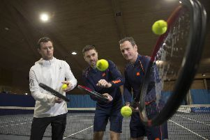 Davis Cup captain Leon Smith, Fed Cup coach Colin Fleming and CEO Blane Dodds at the Gleneagles Tennis Arena in  Auchterarder. Picture: Jeff Holmes