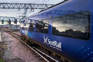 A ScotRail train in motion. Picture: John Devlin
