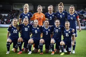 The Scotland team featuring, back row (left to right), Sophie Howard, Lee Alexander, Caroline Weir, Jennifer Beattie, Rachel Corsie, and front row (left to right), Erin Cuthbert, Claire Emslie, Kim Little, Emma Mitchell, Lisa Evans, Christie Murray. Picture: Rob Casey/SNS