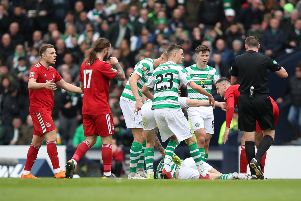 Ryan Christie of Celtic lies injured after a clash with Dominic Ball during the Scottish Cup semi-final. Picture: Getty