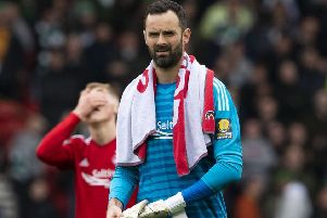 Aberdeen keeper 'Joe Lewis walks off the Hampden pitch. Picture: Alan Harvey/SNS