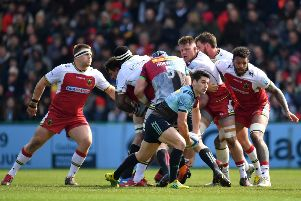 Sam Hidalgo-Clyne of Harlequins in action during the Gallagher Premiership match with Northampton Saints on April 13. Picture: Getty Images