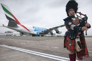 A380 arrives at Glasgow Airport.