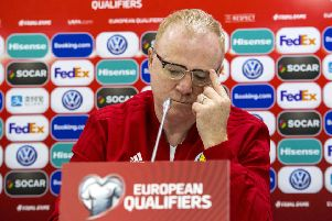 Former Scotland manager Alex McLeish shows the strain during a press conference in Kazakhstan. Picture: Alan Harvey/SNS