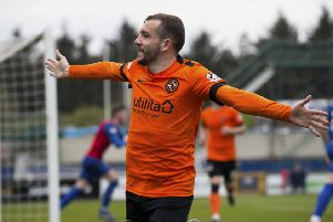 Dundee United's Paul McMullan celebrates his goal. Pic: SNS/Bruce White