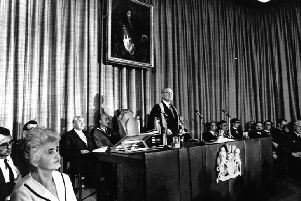 Lord Geoffrey Crowther, the first Chancellor of The Open University, on receipt of the brand-new institution's Royal Charter at a ceremony fifty years ago