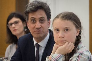Former Labour leader Ed Miliband and Swedish climate activist Greta Thunberg at the House of Commons on Tuesday (Picture: Stefan Rousseau/PA Wire)