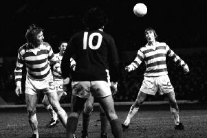 Kenny Dalglish (right) in action for Celtic. Pic: SNS