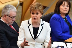 Nicola Sturgeon addresses the Scottish Parliament on Brexit and a second independence referendum (Picture: Andy Buchanan/AFP/Getty)