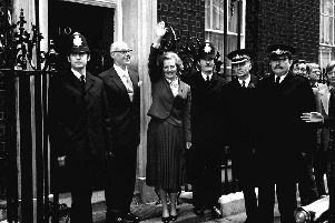 Margaret Thatcher waves from the steps of Downing Street after winning the 1979 general election - ushering in the age of arch-capitalism. Picture: PA