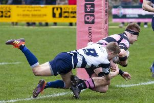 David Corbenici scores a try for Ayr in their 29-23 victory over Heriot's in last month's Premiership final. Picture: SNS/SRY.