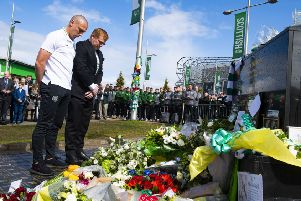 Celtic's Scott Brown and Neil Lennon lay tributes on behalf of the club to legendary European Cup winning captain Billy McNeill. Pic: SNS/Alan Harvey