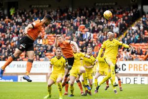 Dundee United's Rachid Bouhenna scores to put the hosts ahead. Pic: SNS/Kenny Smith