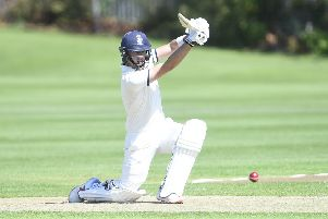 Heriot's batsman Elnathan Meiri hits out during his team's rain-affected, 11-run victory against city rivals Watsonians at Goldenacre. Picture: Greg Macvean