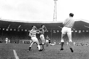 Stevie Chalmers in action for Celtic during the 1969 Scottish Cup final against Rangers. A crowd of 133,000 packed out Hampden for the match. Picture: TSPL