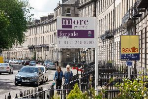 For Sale signs can be seen on Abercromby Place, Edinburgh. Pic: Toby Williams