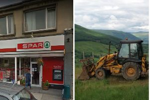 The Spar store in Keith, Moray (pictured) suffered thousands of pounds of damage after the digger (stock image) crashed into the shop. Picture: Google and WikiCommons
