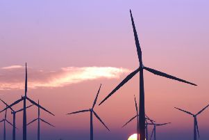 Sunset over Black Law Wind Farm, near Shotts .  Picture: Ian Rutherford /TSPL