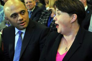 Ruth Davidson, leader of the Scottish Conservatives, chats with Home Secretary Sajid Javid at the Scottish Conservative party conference in Aberdeen (Picture: Andy Buchanan/AFP/Getty)