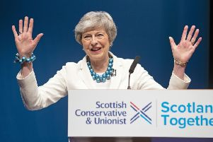 Prime Minister Theresa May addresses delegates during the Scottish Conservatives' annual party conference at the Aberdeen Exhibition and Conference Centre. PRESS ASSOCIATION Photo. Picture date: Friday May 3, 2019. See PA story POLITICS Tories. Photo credit should read: Jane Barlow/PA Wire