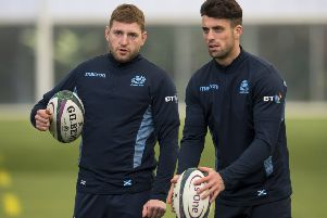 Finn Russell, left, is still the go-to man for Scotland at stand-off, despite Adam Hastings' rise to prominence. Picture: Bruce White/SNS/SRU