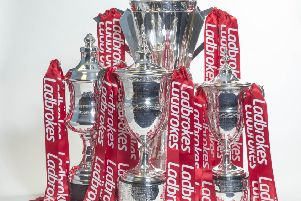All four league trophies are currently sponsored by bookmakers Ladbrokes. Picture: Jeff Holmes