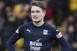 On-loan Scott Wright quickly became immersed in Dundee's battle to remain in the Premiership. Picture: SNS.