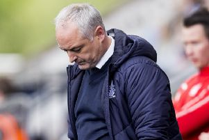 Falkirk manager Ray McKinnon looks dejected at full-time. Pic: SNS/Bruce White