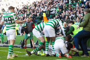 Odsonne Edouard celebrates with teammates during the 2-1 win over Rangesr in March. Pic: SNS
