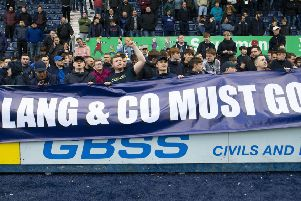 Falkirk fans direct their ire towards club chairman Margaret Lang and her board of directors. Picture: SNS.
