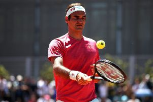 Roger Federer warms up at the Mutua Madrid Open amid fallout over the Justin Gimelstob case. Picture: Getty.