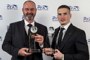 Manager of the Year Steve Clarke and Young Player of the Year Ryan Kent collect their awards at the PFA Scotland ceremony. Picture: Jeff Holmes/PA