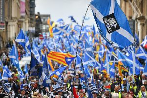 Thousands of independence supporters marched during The All Under One Banner event on Saturday in Glasgow. Picture: Getty