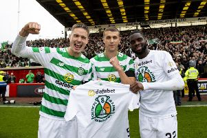 Celtic celebrated an eighth successive title win on Saturday. Picture: SNS