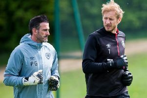 Hearts' Zdenek Zlamal, right, with goalkeeping coach Paul Gallacher. Pic: SNS