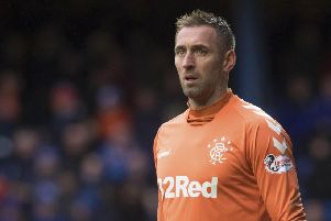 Rangers 'keeper Allan McGregor was sent off for kicking out at Hibs forward Marc McNulty. Picture: SNS Group