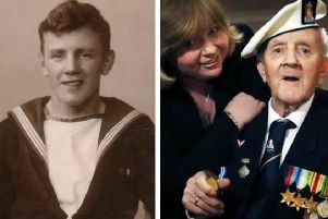 Pamela Hunter (right) will travel to Moscow to pay tribute to her father John Burns (first left and far left), who took part in the deadly Arctic  Convoys from Scotland to Russia during World War Two. PICS: Contributed.