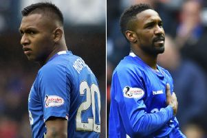 Alfredo Morelos (left) is back from suspension but Jermain Defoe has hit the goal trail in the Colombian's enforced absence. Pictures: SNS Group