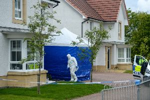 Police probing the disappearance of  Ayrshire woman Emma Faulds have taped off a house in Monkton. Picture: SWNS