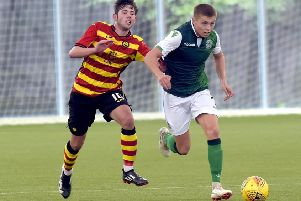 Fraser Murray, right, in action for ''Hibs Reserves against Partick Thistle''. Picture: Lisa Ferguson
