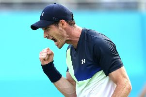 Andy Murray reacts during day two of the 2018 Fever-Tree Championship at the Queens Club. Picture: Steven Paston/PA Wire.