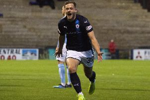 Raith's James Gullan celebrates his goal to make it 2-1 against Forfar. Picture: SNS