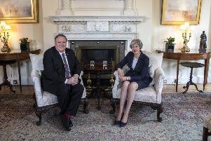 US Secretary of State Mike Pompeo was in London yesterday where he met Prime Minister Theresa May at 10 Downing Street. Picture: Getty