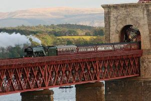 Flying Scotsman crossing the Forth Bridge. Picture: Steam Dreams