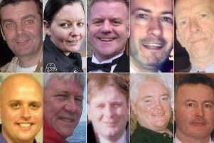 Clutha victims. (Top: left to right) David Traill; PC Kirsty Nelis; PC Tony Collins; Gary Arthur; Samuel McGhee (Bottom: left to right) Colin Gibson; Robert Jenkins; Mark O'Prey; John McGarrigle; Joe Cusker. Picture: Getty
