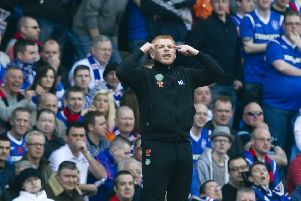 Neil Lennon on the touchline at Ibrox in March 2012, the last time he managed Celtic at the home of their arch rivals. Picture: SNS