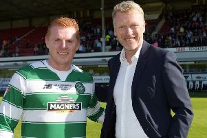 Neil Lennon with David Moyes, the man rumoured to be replacing the Northern Irishman at Celtic. Pic: SNS/Alan Harvey