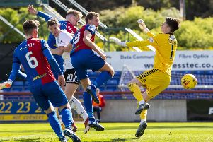 Inverness' Coll Donaldson heads home the equaliser. Pic: SNS/Ross Parker